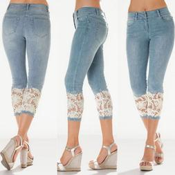 2019 New Jeans For Women's Lace Spliced Calf-Length <font><b