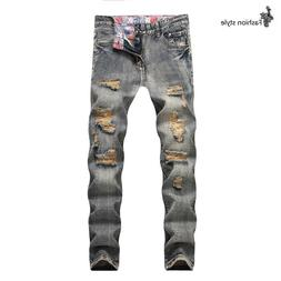 Fashion 2019 Men's jeans casual vintage distressed hole Jean