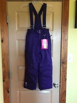 Girls Weatherproof Purple Winter Snow Ski Bibs Pants Size 7/