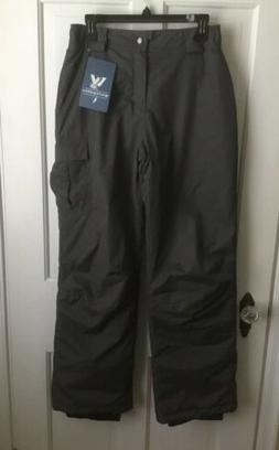 Girls Snow Ski Pants Insulated Gray Medium M White Sierra MS