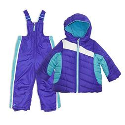 Arctic Quest Toddler Girls Color Block Fleece Lined Hood and