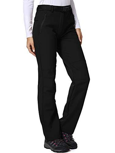 Women's Fleece-Lined Soft Shell Pants Insulated Wind-Resistant