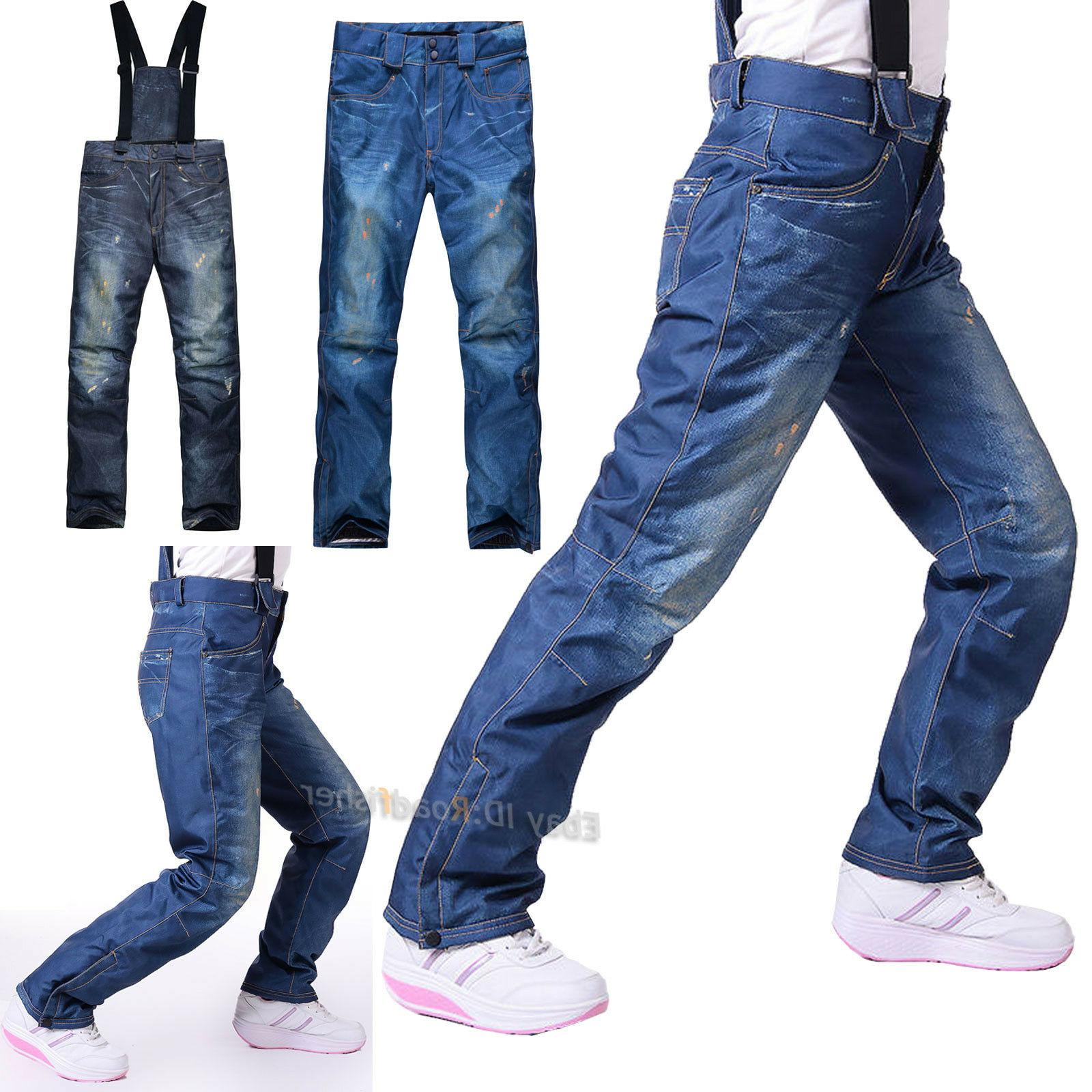 new women denim ski snow pants waterproof