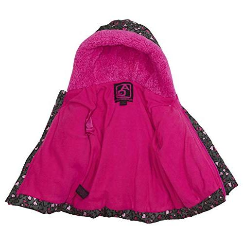Arctic Toddler Girls Leopard Print Puffer with Fleece Lined Hood Set, Pink Grey, 5T