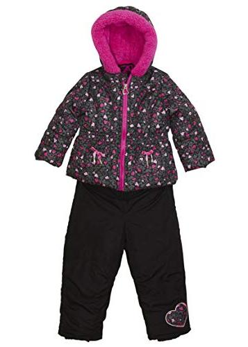 Arctic Toddler Leopard Puffer with and Set, Pink Grey, 5T