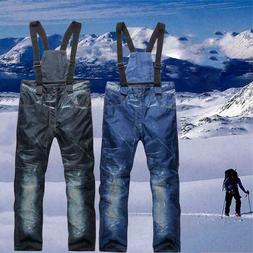 Men's Ski Snow Pants Denim Thick Winter Warm Waterproof Outd