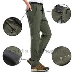 Men's Winter Outdoor Hiking Warm Snow Pants Fleece Waterproo
