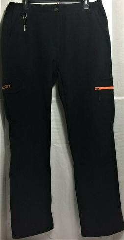 NONWE mens 34x32 black warm windproof fleece lined hiking sn