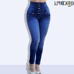 Mom's Jeans Women Spring Stretch High Waist Casual Straight-