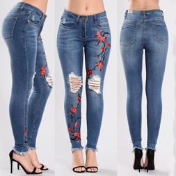New Women Jeans Female Blue Sexy Slim Ripped Jeans for Women