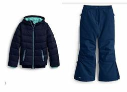 NWT LANDS END GIRL 2PC 7/8  BLUE SQUALL WATERPROOF SNOW PANT