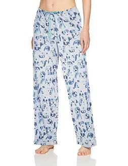 HUE Women's Printed Knit Long Pajama Sleep Pant, Snow White/
