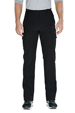 Nonwe Men's Winter Fleece Lined Cargo Snow Hiking Pants Blac