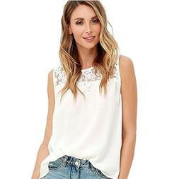 Women Blouse FarJing Women Chiffon Lace Sleeveless Shirt Blo