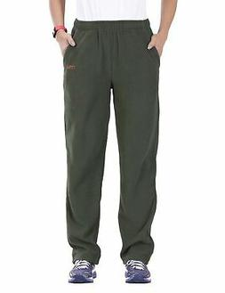 Nonwe Women's Fleece Hiking Snow Sweat Pants Green Waist 35-