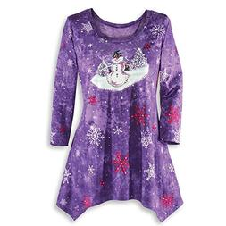 Women's Let it Snow Holiday Sharkbite Top w/Sparkling Snowfl